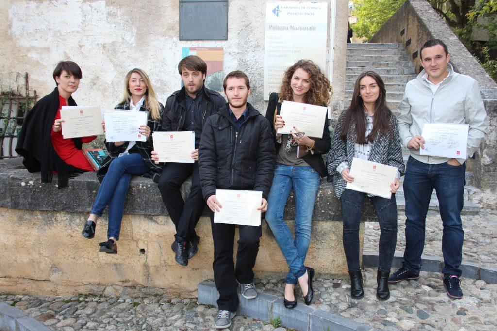 Remise de diplome pour le DU journalisme, médias et corsophonie, 2015